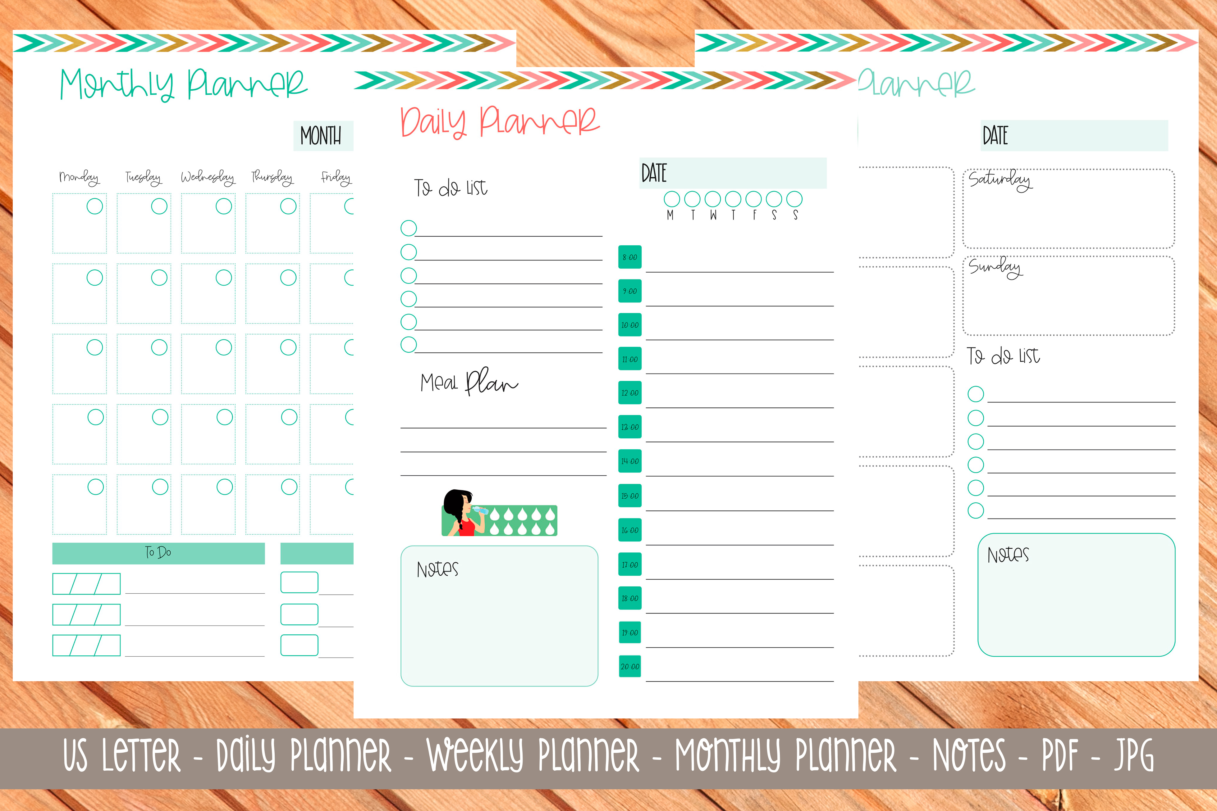 Download Free Us Letter Printable Planner 8 Graphic By Printable Planners for Cricut Explore, Silhouette and other cutting machines.