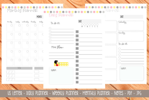 Print on Demand: Us Letter Printable Planner 9 Graphic Print Templates By Printable Planners
