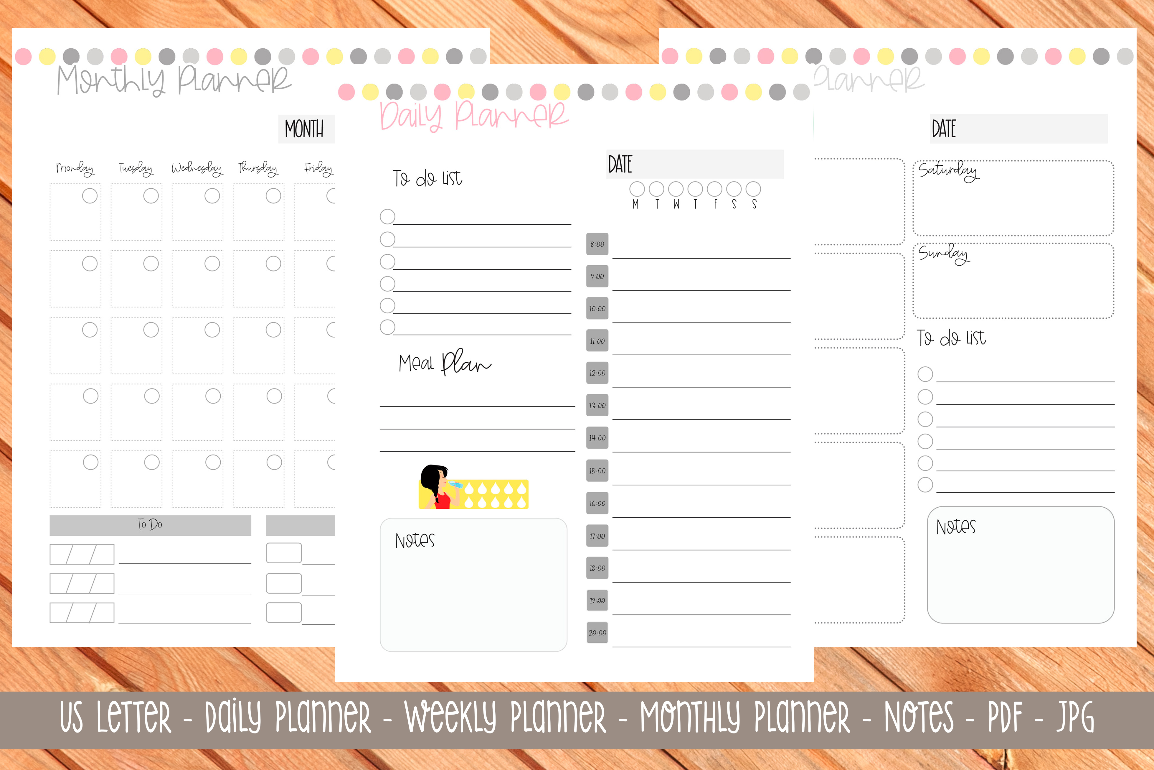 Download Free Us Letter Printable Planner 9 Graphic By Printable Planners for Cricut Explore, Silhouette and other cutting machines.