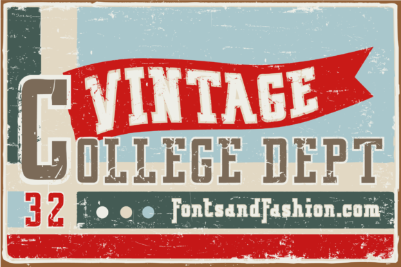 Print on Demand: Vintage College Dept_Double Slab Serif Schriftarten von Fontsandfashion