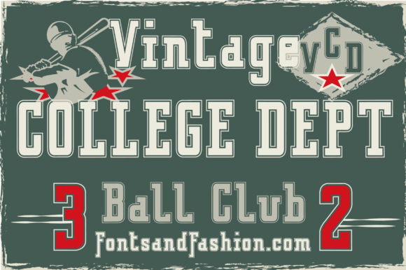 Print on Demand: Vintage College Dept_Outline Slab Serif Schriftarten von Fontsandfashion
