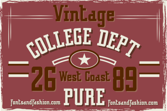Print on Demand: Vintage College Dept Pure Slab Serif Fuente Por Fontsandfashion