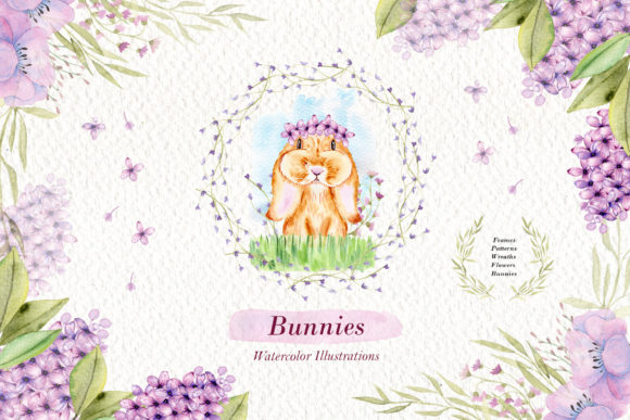 Print on Demand: Watercolor Bunnies Illustration Set Graphic Illustrations By tanatadesign