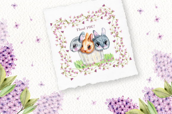 Print on Demand: Watercolor Bunnies Illustration Set Graphic Illustrations By tanatadesign - Image 11