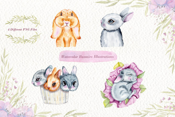 Print on Demand: Watercolor Bunnies Illustration Set Graphic Illustrations By tanatadesign - Image 2