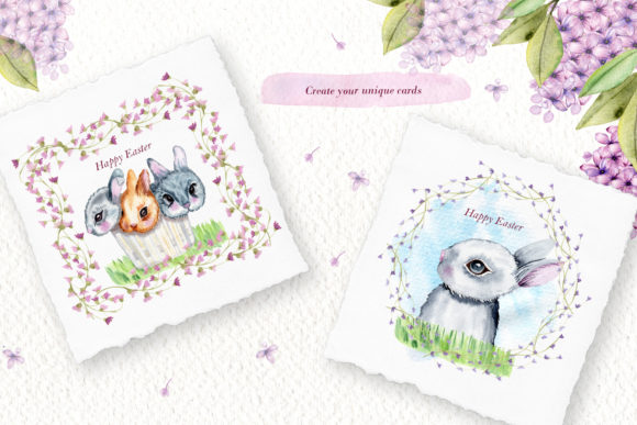 Print on Demand: Watercolor Bunnies Illustration Set Graphic Illustrations By tanatadesign - Image 7
