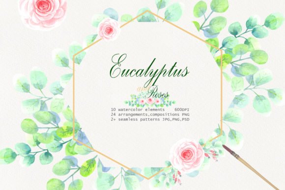 Watercolor Eucalyptus and Roses Clip Art Graphic Illustrations By evgenia_art_art