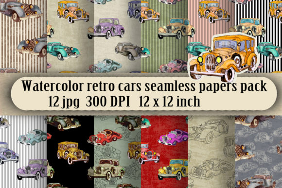 Watercolor Retro Cars Patterns Set Graphic Patterns By arevkasunshine