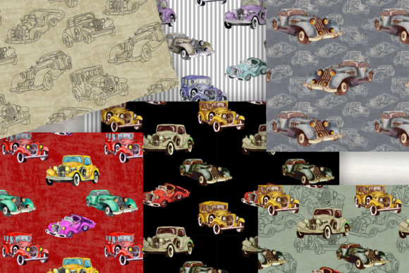 Watercolor Retro Cars Patterns Set Graphic Patterns By arevkasunshine - Image 2