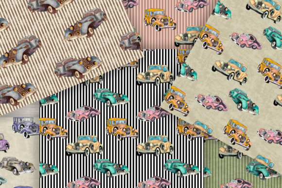 Watercolor Retro Cars Patterns Set Graphic Patterns By arevkasunshine - Image 3