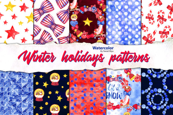 Winter Holidays Seamless Patterns Graphic Patterns By NataliMyaStore