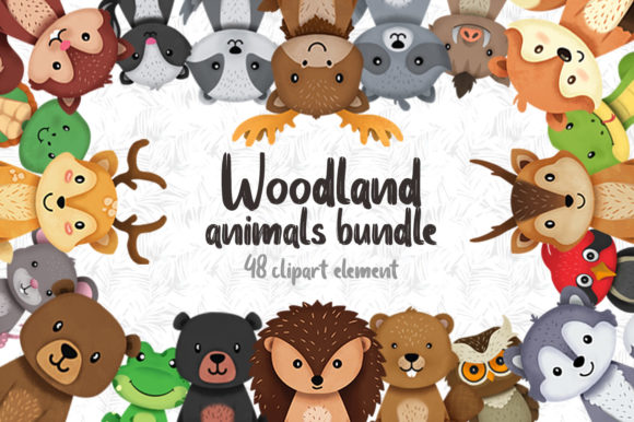 Print on Demand: Woodland Animals Clipart Grafik Illustrationen von accaliadigital