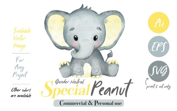 Download Free Peanut Elephant Clipart In Lime Green Graphic By Adlydigital for Cricut Explore, Silhouette and other cutting machines.
