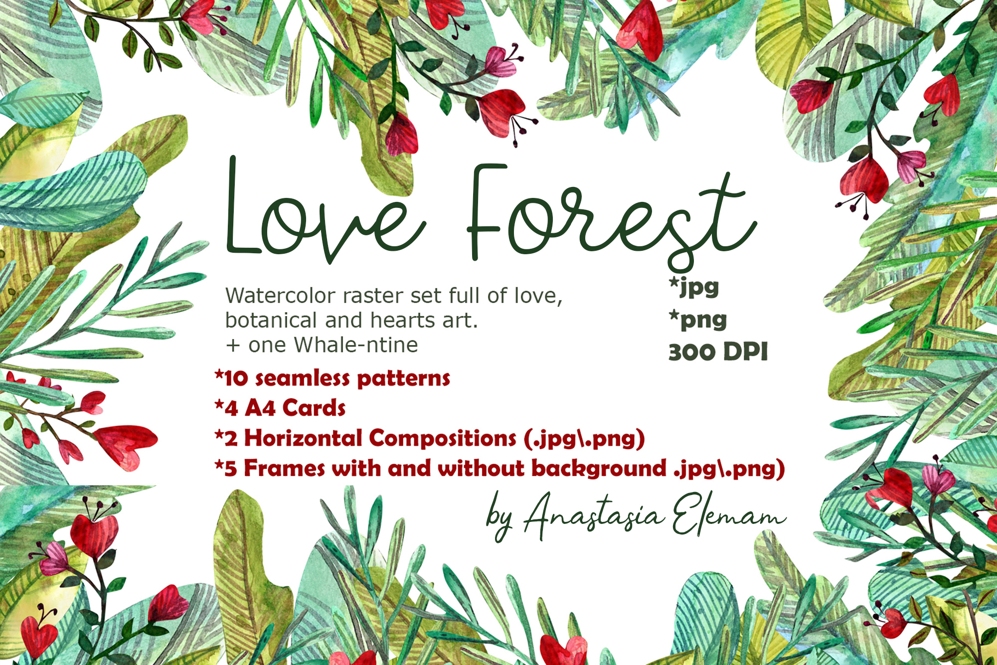 Download Free Love Forest Watercolor Set With Patterns Graphic By Anes Art for Cricut Explore, Silhouette and other cutting machines.