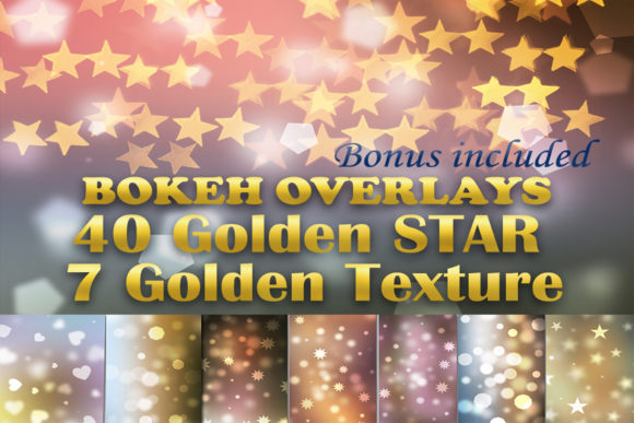 Download Free 40 Gold Star Overlays 7 Golden Textures Graphic By Impresstore for Cricut Explore, Silhouette and other cutting machines.