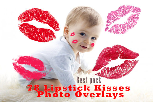 78 Kisses Photo Overlays Lipstick Kiss Graphic Layer Styles By impresstore