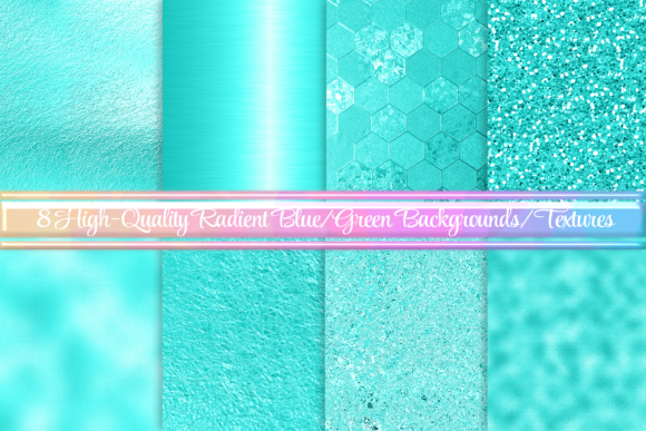 Print on Demand: 8 Bluish Green Backgrounds/Textures Graphic Backgrounds By AM Digital Designs - Image 1