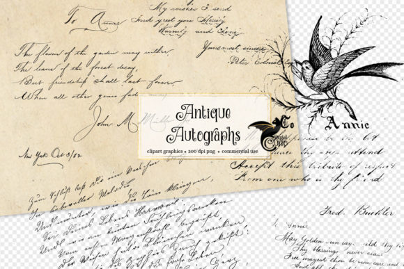 Antique Autograph Overlays Graphic Illustrations By Digital Curio - Image 1
