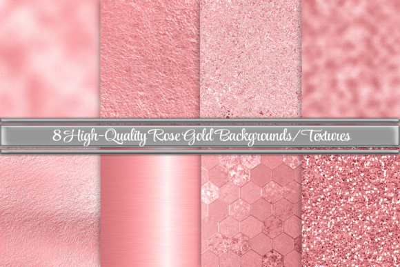 Print on Demand: Beautiful Rose Gold Backgrounds Textures Graphic Backgrounds By AM Digital Designs