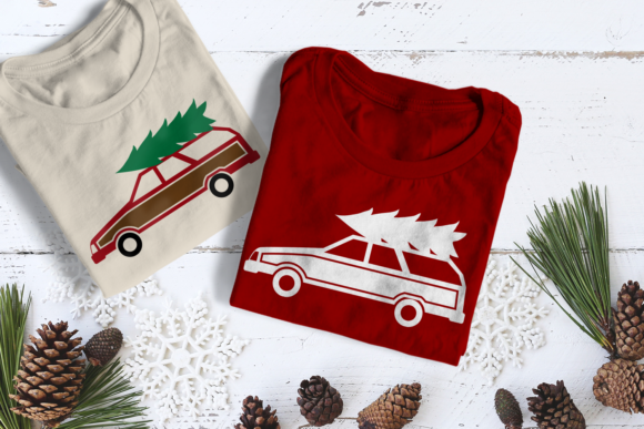 Christmas Station Wagon with Tree Graphic Crafts By RisaRocksIt