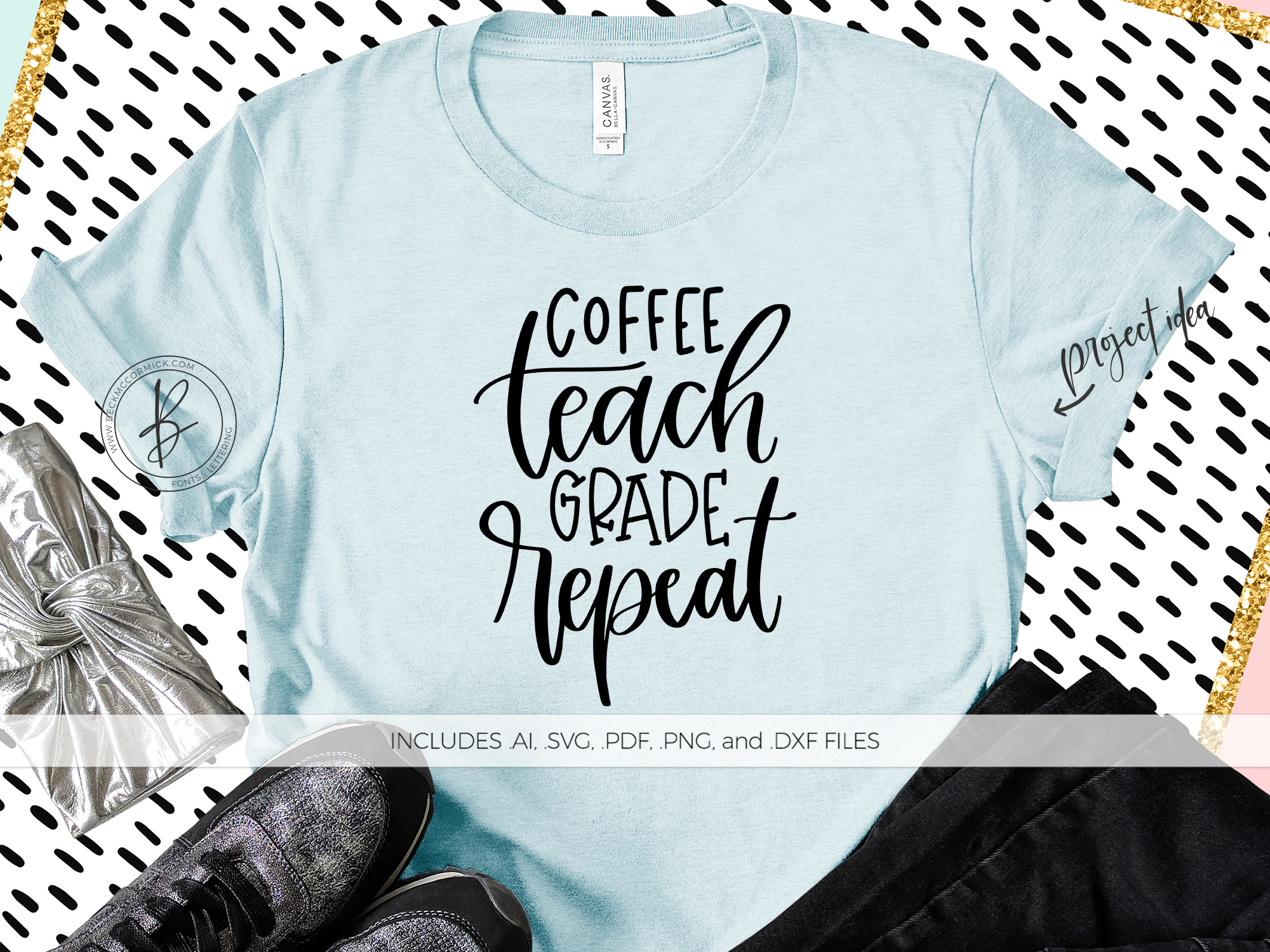 Download Free Coffee Teach Grade Repeat Graphic By Beckmccormick Creative for Cricut Explore, Silhouette and other cutting machines.