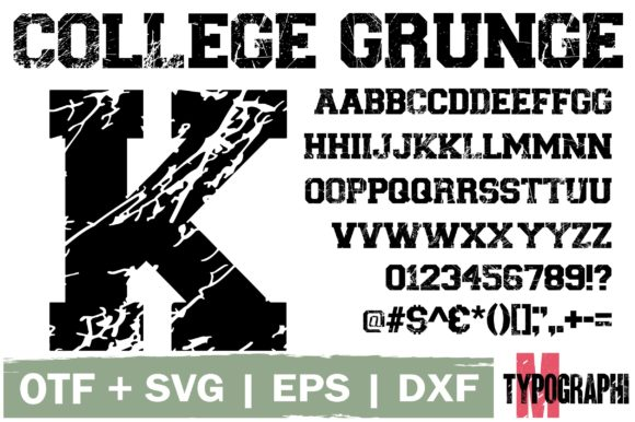 Print on Demand: College Grunge Dekorativ Schriftarten von Typography Morozyuk