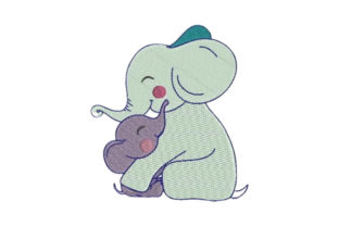 Cuddling Mom and Baby Elephant Wild Animals Embroidery Design By Embroidery Designs