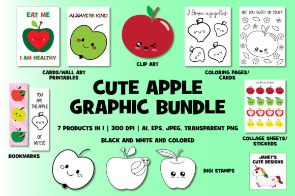 Download Free Cute Apple Graphic Bundle Graphic By Janet S Cute Designs for Cricut Explore, Silhouette and other cutting machines.