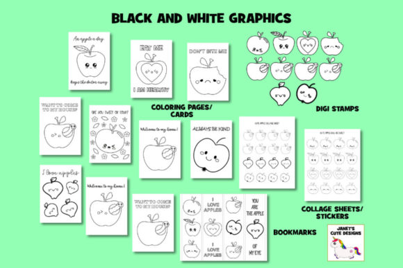Print on Demand: Cute Apple Graphic Bundle Graphic Coloring Pages & Books Kids By Janet's Cute Designs - Image 2