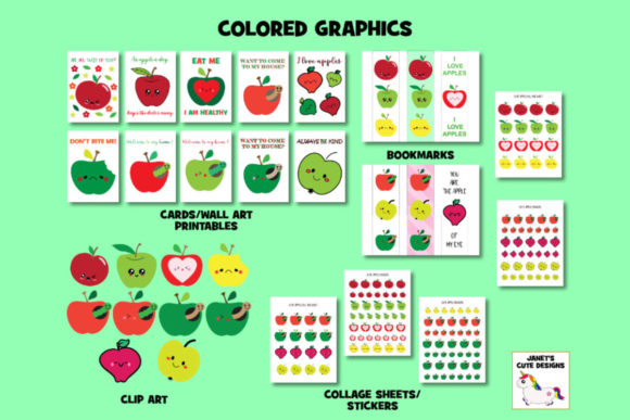Print on Demand: Cute Apple Graphic Bundle Graphic Coloring Pages & Books Kids By Janet's Cute Designs - Image 3