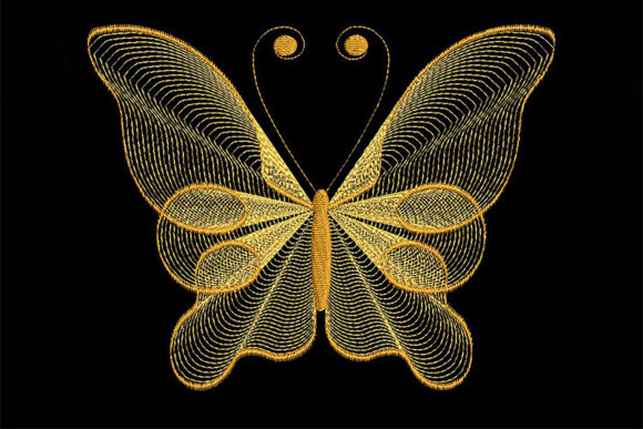 Delicate Butterfly Bugs & Insects Embroidery Design By Embroidery Shelter - Image 1