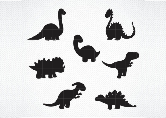 Print on Demand: Dinosaur Silhouette Baby Graphic Crafts By SVG DEN