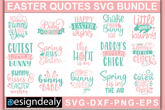 Print on Demand: Easter Quotes Bundle Graphic Print Templates By Designdealy.com