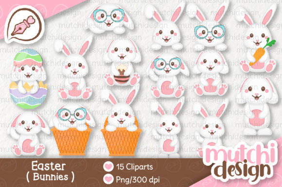 Print on Demand: Easter Bunnies Graphic Illustrations By Mutchi Design
