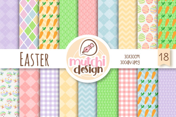 Easter Digital Papers Graphic Backgrounds By Mutchi Design