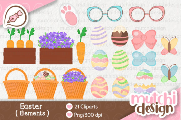 Print on Demand: Easter Elements Graphic Illustrations By Mutchi Design
