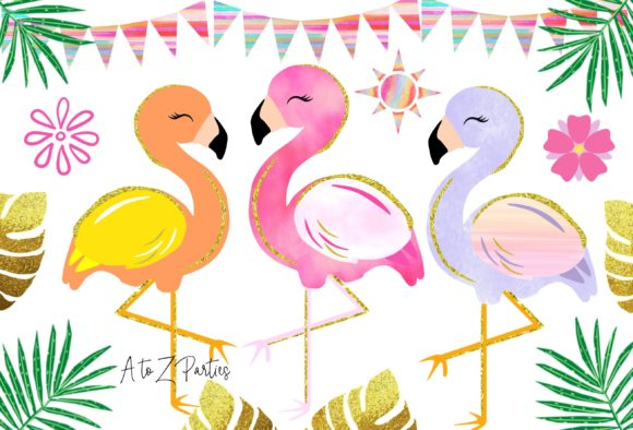 Print on Demand: Flamingo Glitter Watercolor Tropical Graphic Illustrations By A to Z Parties - Image 1