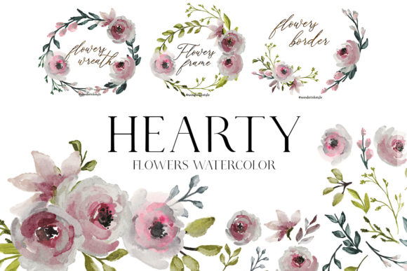 Flowers Watercolor Clipart Floral Wreath Graphic Illustrations By mycandythemes
