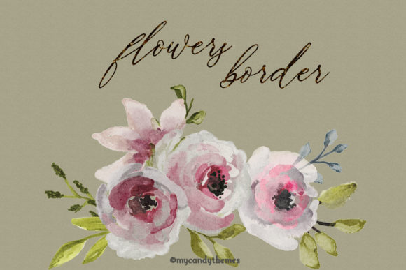 Flowers Watercolor Clipart Floral Wreath Graphic Illustrations By mycandythemes - Image 10