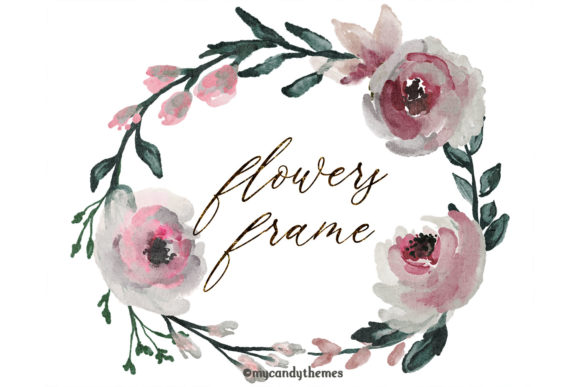 Flowers Watercolor Clipart Floral Wreath Graphic Illustrations By mycandythemes - Image 2