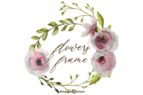 Flowers Watercolor Clipart Floral Wreath Graphic Illustrations By mycandythemes - Image 3