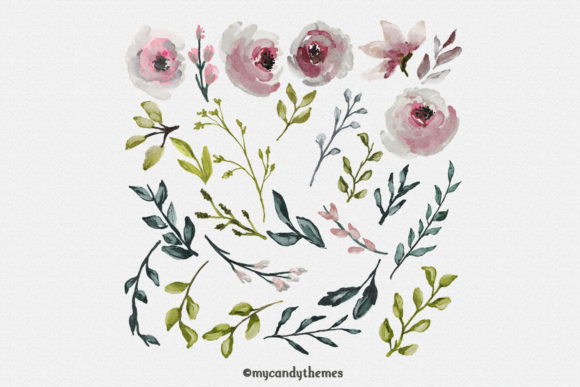 Flowers Watercolor Clipart Floral Wreath Graphic Illustrations By mycandythemes - Image 6
