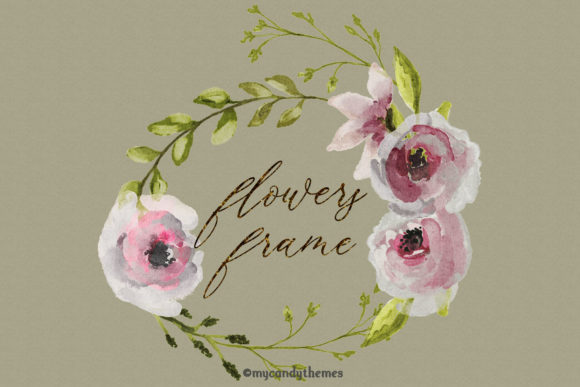 Flowers Watercolor Clipart Floral Wreath Graphic Illustrations By mycandythemes - Image 8