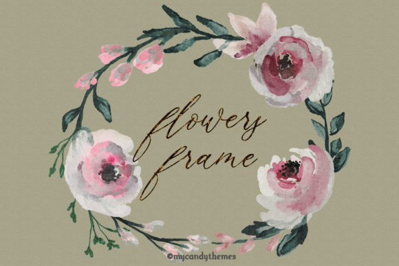 Flowers Watercolor Clipart Floral Wreath Graphic Illustrations By mycandythemes - Image 9