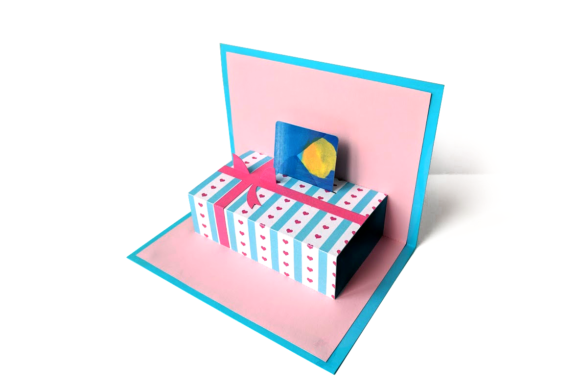 Gift Card Holder Pop Up Card Graphic 3D Shapes By RisaRocksIt