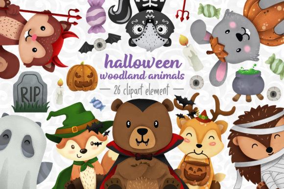 Print on Demand: Halloween Woodland Animals Clipart Set 1 Graphic Illustrations By accaliadigital - Image 1