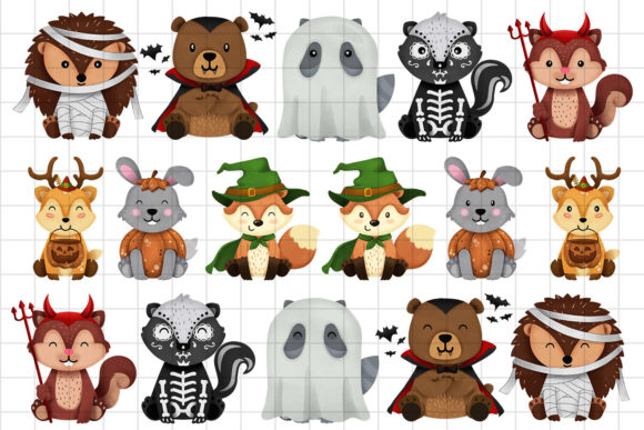 Print on Demand: Halloween Woodland Animals Clipart Set 1 Graphic Illustrations By accaliadigital - Image 2