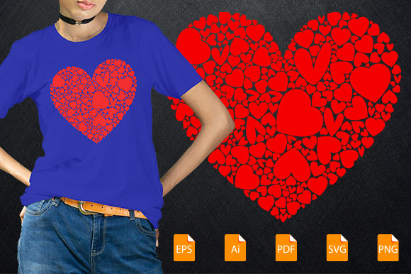 Print on Demand: Heart T-shirt Design Graphic Print Templates By bsakib777