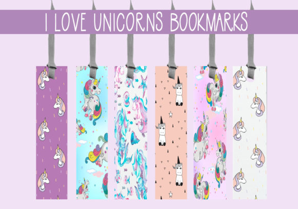 Print on Demand: I Love Unicorns Bookmarks Graphic Print Templates By CapeAirForce