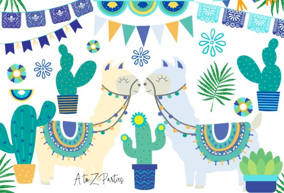 Print on Demand: Llama Clip Art Set Watercolor Blue Graphic Illustrations By A to Z Parties - Image 1